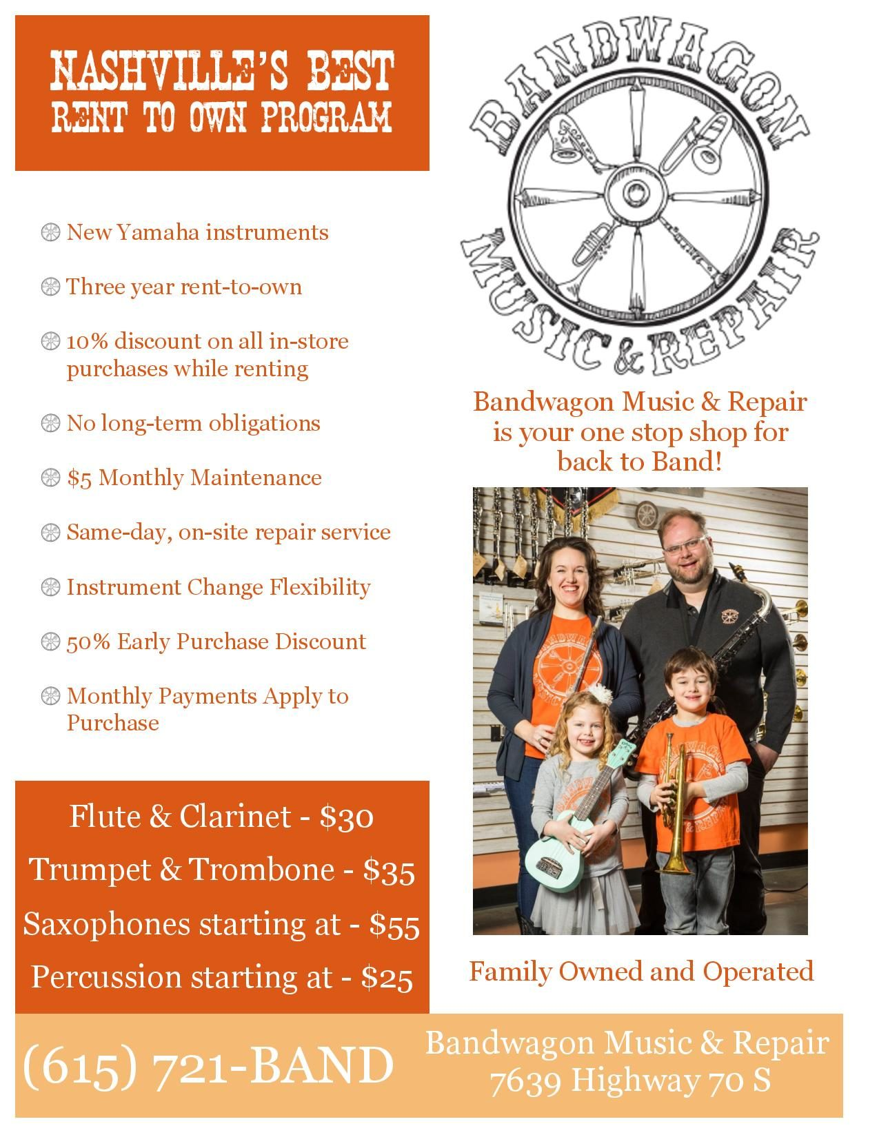 Bandwagon Music & Repair Rental Flyer